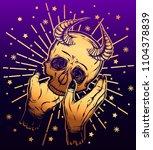 vector illustration. skull with ... | Shutterstock .eps vector #1104378839