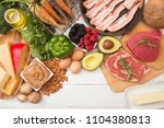 various foods that are perfect... | Shutterstock . vector #1104380813