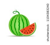 red ripe watermelon vector icon | Shutterstock .eps vector #1104383240
