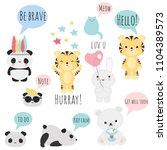 set of 9 vector kawaii animals... | Shutterstock .eps vector #1104389573