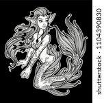 hand drawn beautiful mermaid... | Shutterstock .eps vector #1104390830