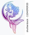 hand drawn beautiful mermaid... | Shutterstock .eps vector #1104390920