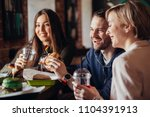 young friends having a great... | Shutterstock . vector #1104391913