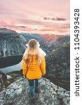 girl traveling alone enjoying... | Shutterstock . vector #1104393428