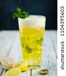 beer lemonade with mint and... | Shutterstock . vector #1104395603