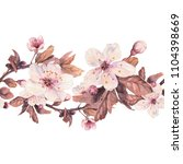 seamless border with watercolor ...   Shutterstock . vector #1104398669