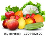 fresh ripe apples  pear  orange ... | Shutterstock . vector #1104402620