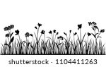 Set Of Silhouettes Of Flowers...