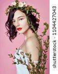 woman bright summer look...   Shutterstock . vector #1104427043