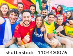 football supporters together at ... | Shutterstock . vector #1104430076