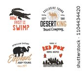 wild animal badges set and...   Shutterstock . vector #1104434420