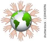 volunteer concept  many hand... | Shutterstock . vector #110443496