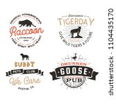 wild animal badges set and... | Shutterstock . vector #1104435170