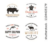 wild animal badges set and... | Shutterstock . vector #1104435179