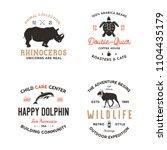 wild animal badges set and...   Shutterstock . vector #1104435179
