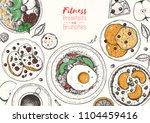 breakfasts top view frame.... | Shutterstock .eps vector #1104459416