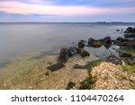 beautiful sunset on the... | Shutterstock . vector #1104470264
