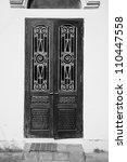 vintage door with wrought iron...   Shutterstock . vector #110447558