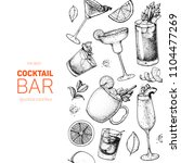 cocktails hand drawn vector... | Shutterstock .eps vector #1104477269
