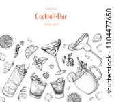 cocktails hand drawn vector... | Shutterstock .eps vector #1104477650