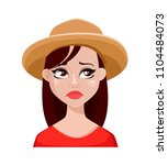 face expression of farmer woman ... | Shutterstock .eps vector #1104484073