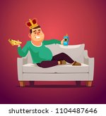 lazy sofa king man unemployed... | Shutterstock .eps vector #1104487646
