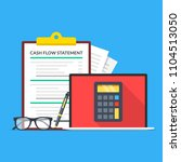 cash flow statement. laptop... | Shutterstock .eps vector #1104513050