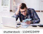 young man frustrated at his... | Shutterstock . vector #1104523499