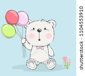 cute baby bear with balloon... | Shutterstock .eps vector #1104553910