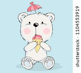 cute baby bear with ice cream... | Shutterstock .eps vector #1104553919