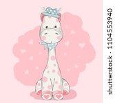 cute baby giraffe cartoon  for... | Shutterstock .eps vector #1104553940
