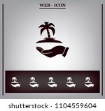 pictograph of island on the hand | Shutterstock .eps vector #1104559604