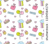 kawaii background with various... | Shutterstock .eps vector #1104564170