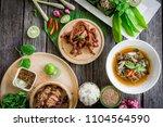 thai esan food  roast beef on... | Shutterstock . vector #1104564590