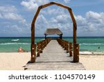 caribbean sea beach  wooden... | Shutterstock . vector #1104570149