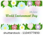 colorful flowers and green... | Shutterstock .eps vector #1104577850