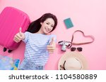 beauty woman smile happily and... | Shutterstock . vector #1104580889