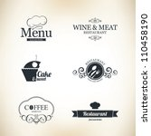 label set for restaurant and... | Shutterstock .eps vector #110458190