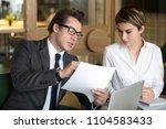 businessman talking about... | Shutterstock . vector #1104583433