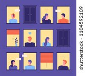 neighbors seen through building ... | Shutterstock .eps vector #1104592109