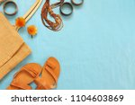 tan colored leather sandals ... | Shutterstock . vector #1104603869