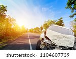 Stock photo accident front of car crash get damaged by accident on the road 1104607739