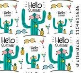 hello summer vector pattern... | Shutterstock .eps vector #1104611636
