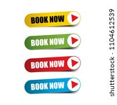 book now on realistic sticker...   Shutterstock .eps vector #1104612539