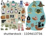 set of pirate objects in... | Shutterstock .eps vector #1104613736