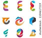logo idea of letter e set | Shutterstock . vector #1104617219