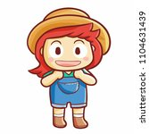 funny and cute little farmer... | Shutterstock .eps vector #1104631439