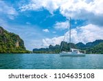 view of yacht floating in the... | Shutterstock . vector #1104635108