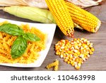 Fresh Corn Cobs On The Table