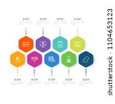 thin line icons set of learning ... | Shutterstock .eps vector #1104653123